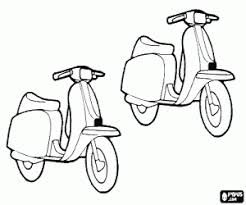 Kleurplaat Twee Motoren Scooter Kleurplaten