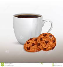 Cookie Coffee Cups Coffee Cup And Cookies Front View Stock Vector Image 64857754