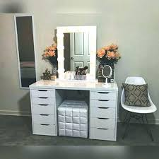 makeup desk with mirror and lights awesome best vanity set