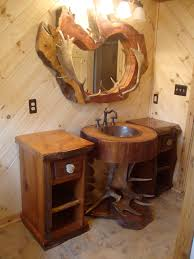 f amazing unique brown log cabin bathroom vanity design ideas rustic with round sink undermount in between wooden shelf storage and the unusual shape cabin lighting ideas