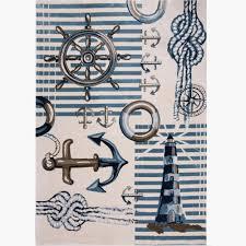 bazaar nautical blue cream 8 ft x 10 ft indoor area rug