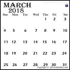 Blank March 2018 Calendar With Templates In Pdf Excel Format