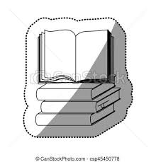 sticker silhouette set stack books with open book csp45450778