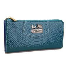 Coach Madison Continental Zip In Croc Embossed Large Blue Wallets AGJ
