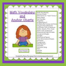 Math Vocabulary Anchor Charts Worksheets Teaching