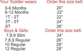 Kid Child Leather Belt Sizing Chart