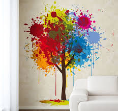 Trees Splash Wall Paint Art Watercolour Painted Simply Fancy Crafts  Interesting Unbelievable Graffiti Personalize