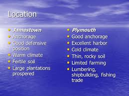 Jamestown And Plymouth Comparison Chart Jamestown Plymouth Compare And Contrast Location