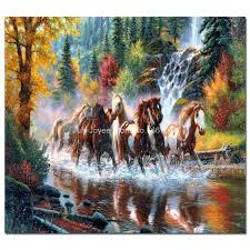 running horse in water in forest diamond embroidery scenery rhinestones painting animal diamond cross landscape home