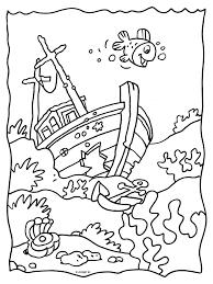 Kleurplaat Gezonken Schip Wrak Kleurplatennl