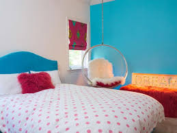 Polka Dot Bedroom Blue Accent Wall Color With Polka Dot Bedding Set For Contemporary