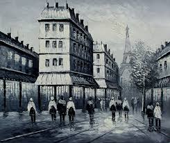 paris black and white hand painted oil painting on canvas