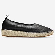 cole haan women s cloudfeel espadrille black leather natural jute