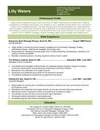 experienced wellness center massage therapist massage therapy resume examples