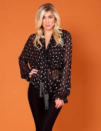 PRISCILLA - Black and Gold Long-Sleeved Ruffle Blouse | Forever Unique