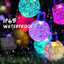 Colored String Lights Us 14 99 30 Off 8 Modes Led Fairy Lighting Strings 6m 7m Rgb Solar Lamps Crystal Ball Colorful String Lights Guirlande Solaire Christmas Light In
