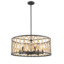 whittier black and warm brass six light pendant