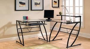 image of z line belaire glass l shaped computer desk sets