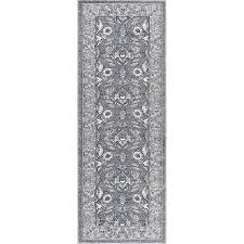 KNS1009 3x8 Charcoal Gray And Ivory 7 Foot Runner Rug  Kensington