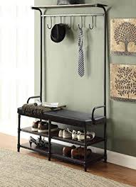 Entryway Shoe Storage Bench Coat Rack Amazon Black Metal and Black Bonded Leather Entryway Shoe 98