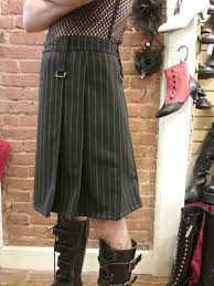 black and white pinstripe kilt three quarter front