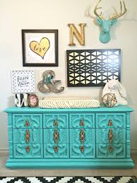 turquoise painted furniture ideas. 3/8; Turquoise Dresser In This Black, White, Gold And Aqua Nursery Painted Furniture Ideas