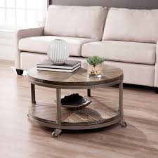 We source the highest quality burnt furniture. Southern Enterprises Stilson 32 In Distressed Gray White Limed Burnt Oak Medium Round Wood Coffee Table With Casters Hd598871 The Home Depot