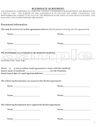 Roommate Agreement Contracts Sample Roommate Agreement Template Download Printable Pdf
