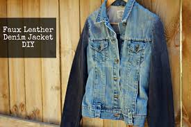 denim jacket faux leather sleeves diy 30 jul 2016 permalink jackets