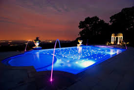 home swimming pools at night. Home Swimming Pool At Night With Water Fountains And Neon Lighting Pools H