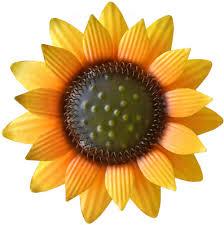 12 inch yellow metal sunflower wall art