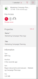 View and edit information about a file, folder, or link in a ...