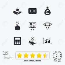 Star Chart Calculator Money Cash And Finance Icons Handshake Safe And Calculator