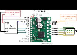 amis 30543 stepper motor driver carrier robot gear minimal wiring diagram for connecting a microcontroller a logic voltage of 5 v to an amis 30543 stepper motor driver carrier