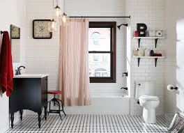 Hand Scraped Laminate Flooring Bathroom Eclectic With 3×6 Subway Tile Black  White And Red