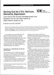 Sorting Out The 3 Ds Delirium Dementia Depression