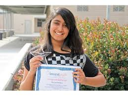investwrite contest winner rio norte junior high school seventh grader shriya bahri recently won first place in the