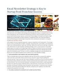 email newsletter strategy email newsletter strategy is key to startup food franchise success