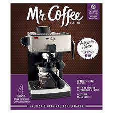 Easy pour glass carafe serves up to 4 shots with just the. Mr Coffee 4 Cup Steam Espresso System With Milk Frother Sale Espresso Machines Shop Buymorecoffee Com