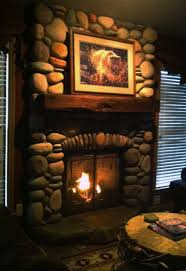 ... Engaging Home Interior Decoration With Long Gas Fireplace : Exciting  Picture Of Rustic Living Room Decoration ...