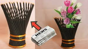 News Paper Flower Vase Newspaper Flower Vase Flower Vase Making Flower Vase Out Of Waste Newspaper