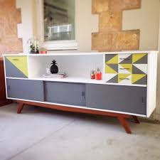 modern painted furniture. Mid-Century Modern Painted Sideboard. Geometric Furniture. French Linen, English Yellow, Furniture Pinterest