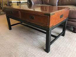 Thomasville coffee and end table   barrow fine furniture. Thomasville Wood And Brass Campaign Style Coffee Table With Drawers And Inlaid Wooden Top