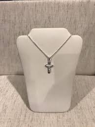 925 sterling silver small cross crucifix pendant cuban link chain necklace