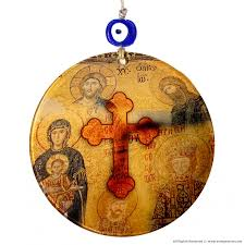 fused glass cross wall art with mosaics of hagia sophia gives protection brings good luck