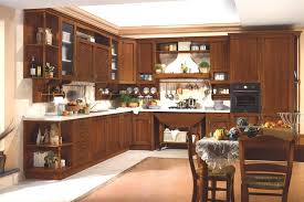 classic kitchen design. Classic Brown L Shaped Kitchen Design With Wall Hanging Utensil Racks And Single Oven