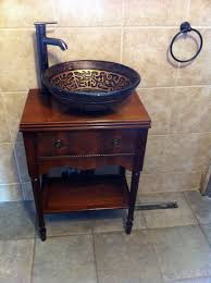 Tailormade Sewing Cabinet Vanity From Refinished Sewing Table Add Simple Glass Vessel Sink