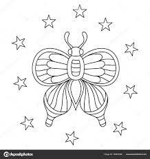 Hand Getekend Vlinders Met Sterren Voor Stress Kleurplaten Pagina