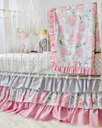 pink clouds and silver linings ruffle crib set blend