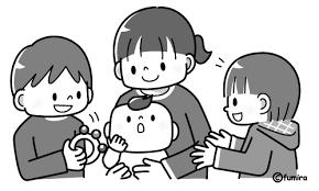 4人兄弟のイラストモノクロ 子供と動物のイラスト屋さん わたなべふみ
